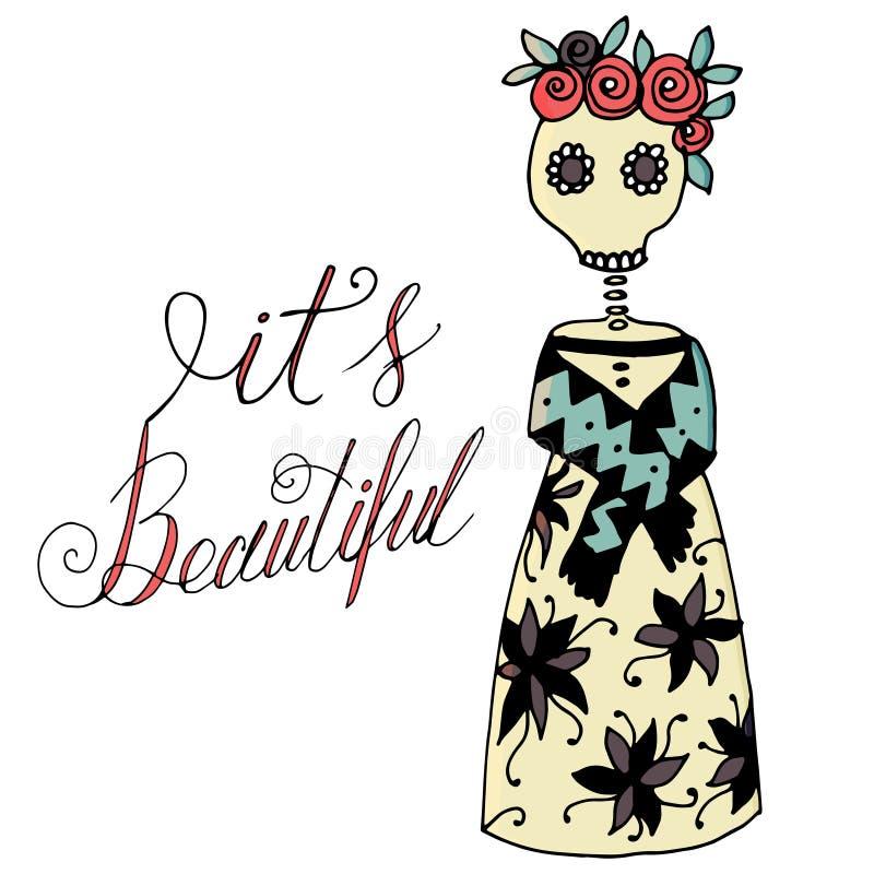 Ejemplo del vector del día de muerte en México Símbolo esquelético del día de fiesta libre illustration