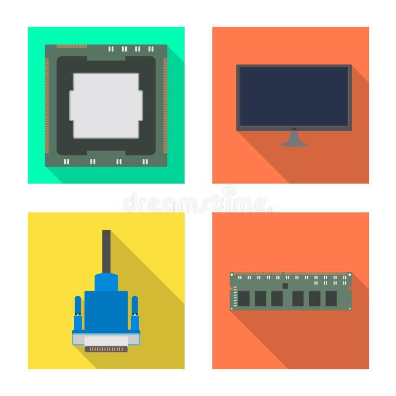 Ejemplo del vector de accesorios y del icono del dispositivo Fije de accesorios y del símbolo común de la electrónica para la web ilustración del vector