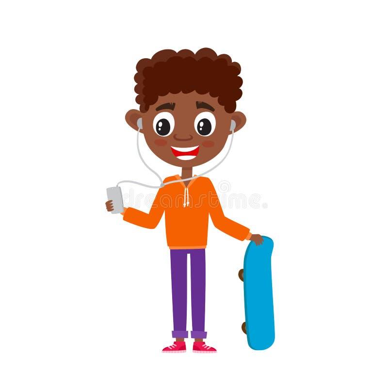 Ejemplo del vector de adolescente del africano de la historieta aislado en blanco ilustración del vector