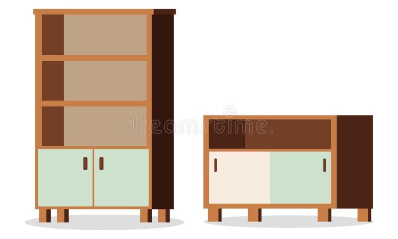 Ejemplo del vector de aislado en los elementos blancos del fondo de los muebles stock de ilustración