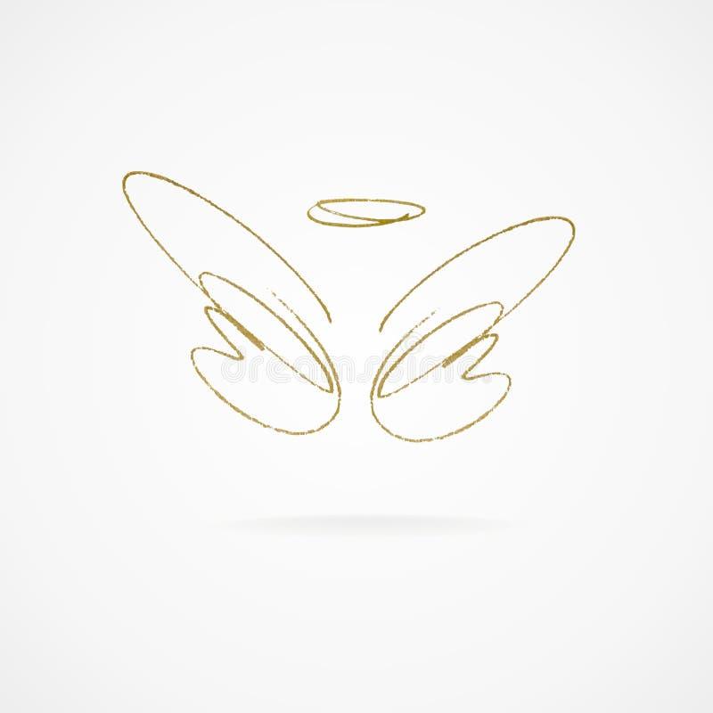 Ejemplo del vector de alas de oro grandes ilustración del vector
