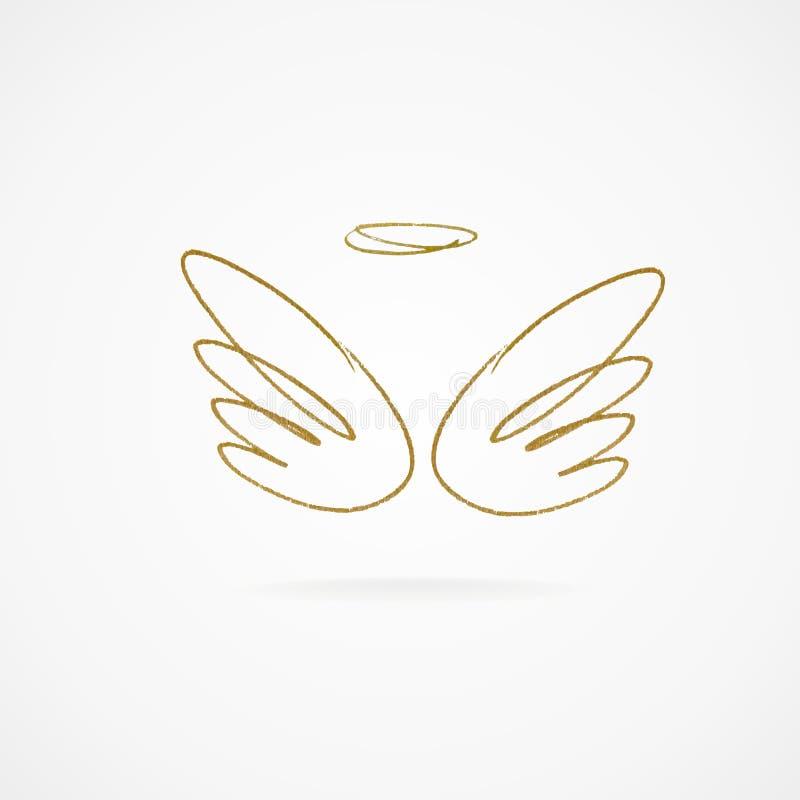 Ejemplo del vector de alas de oro grandes libre illustration