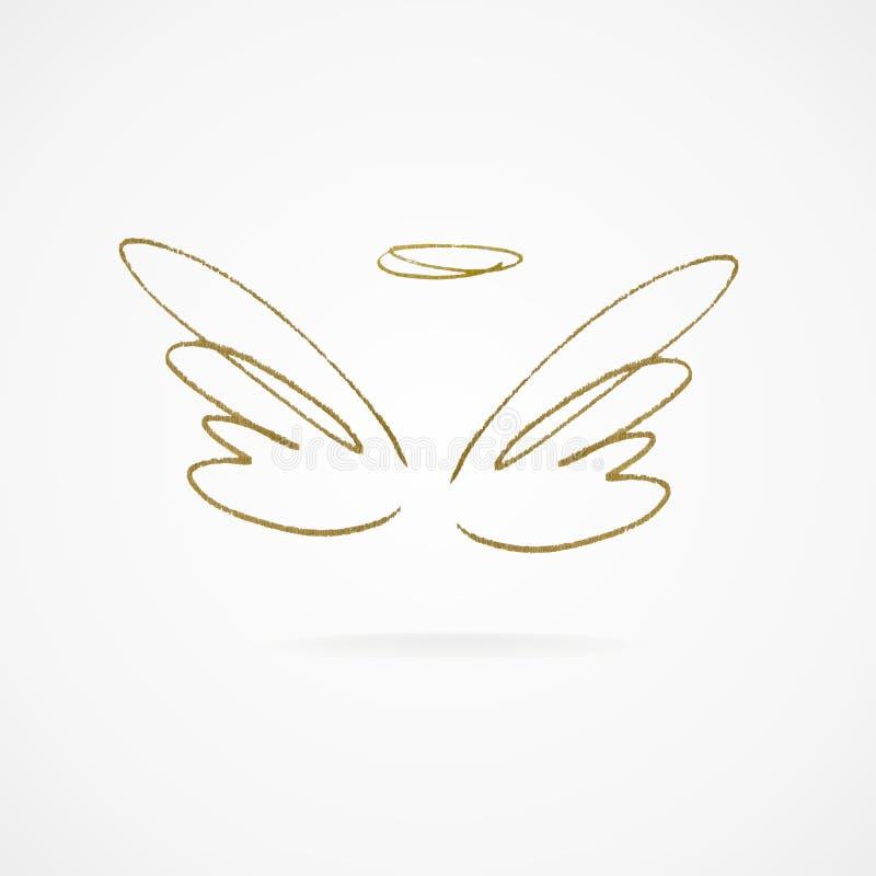 Ejemplo del vector de alas de oro grandes stock de ilustración