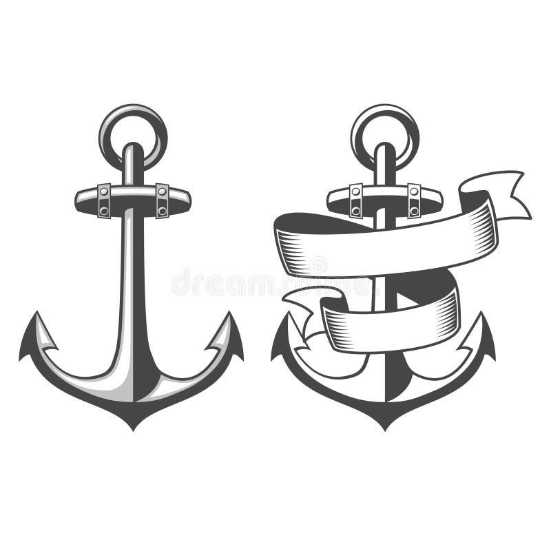Ejemplo del vector de anclas náuticas stock de ilustración