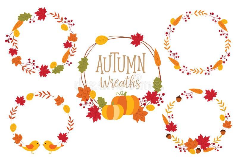 Ejemplo del vector de Autumn Fall Wreath Frame Set stock de ilustración