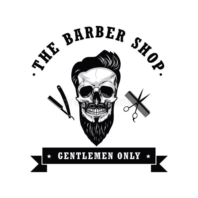 Ejemplo del vector de Barber Shop Logo Design Template del vintage del cráneo stock de ilustración