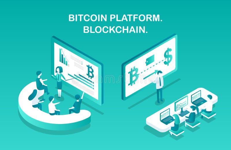 Ejemplo del vector de Blockchain de la plataforma de Bitcoin ilustración del vector