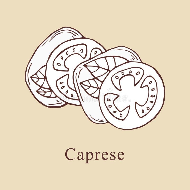 Ejemplo del vector de Caprese en estilo de la historieta libre illustration