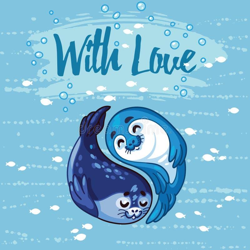 Ejemplo del vector de crías de foca de Yin Yang stock de ilustración
