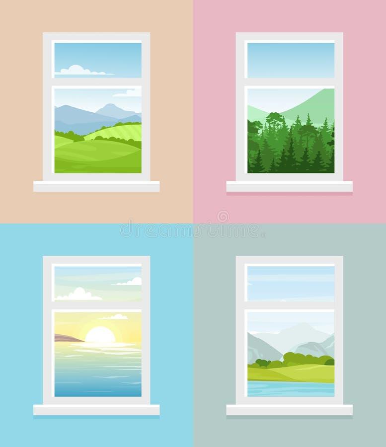 Ejemplo del vector de diversas opiniones de la ventana Montañas, bosque, campos, mar con la colección de las opiniones de la vent stock de ilustración
