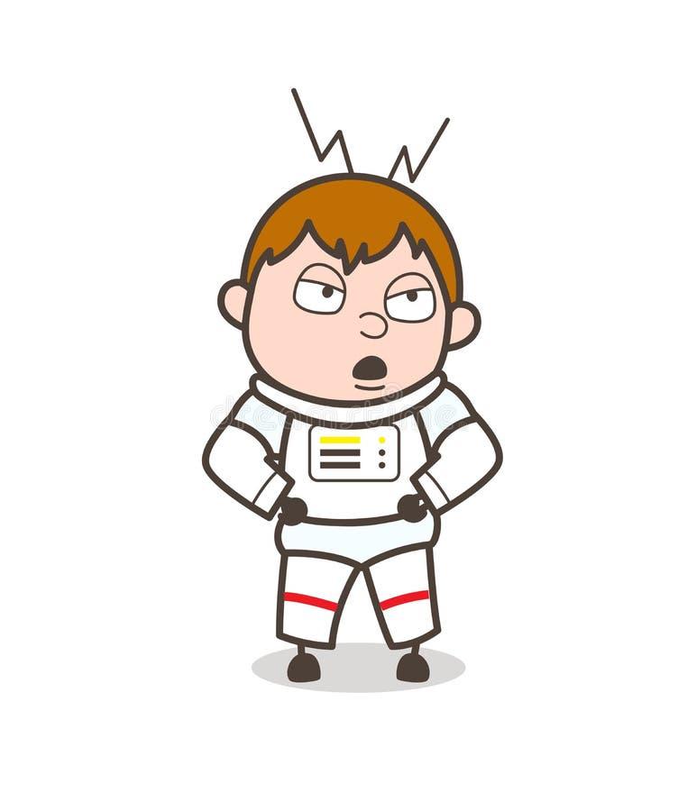 Ejemplo del vector de Doing Rude Behave del astronauta de la historieta stock de ilustración