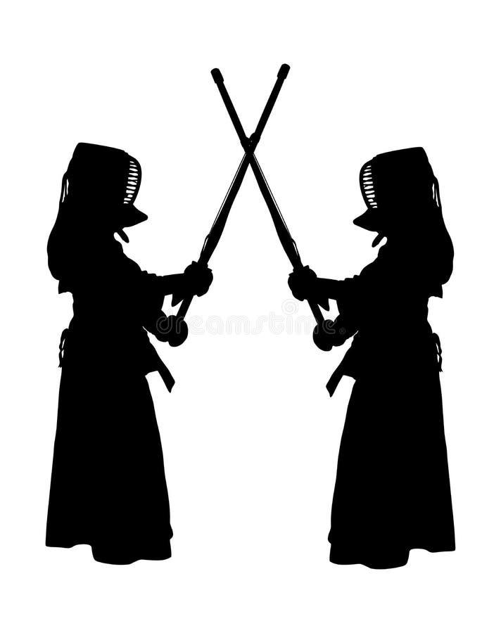 Ejemplo del vector de dos combatientes del kendo stock de ilustración