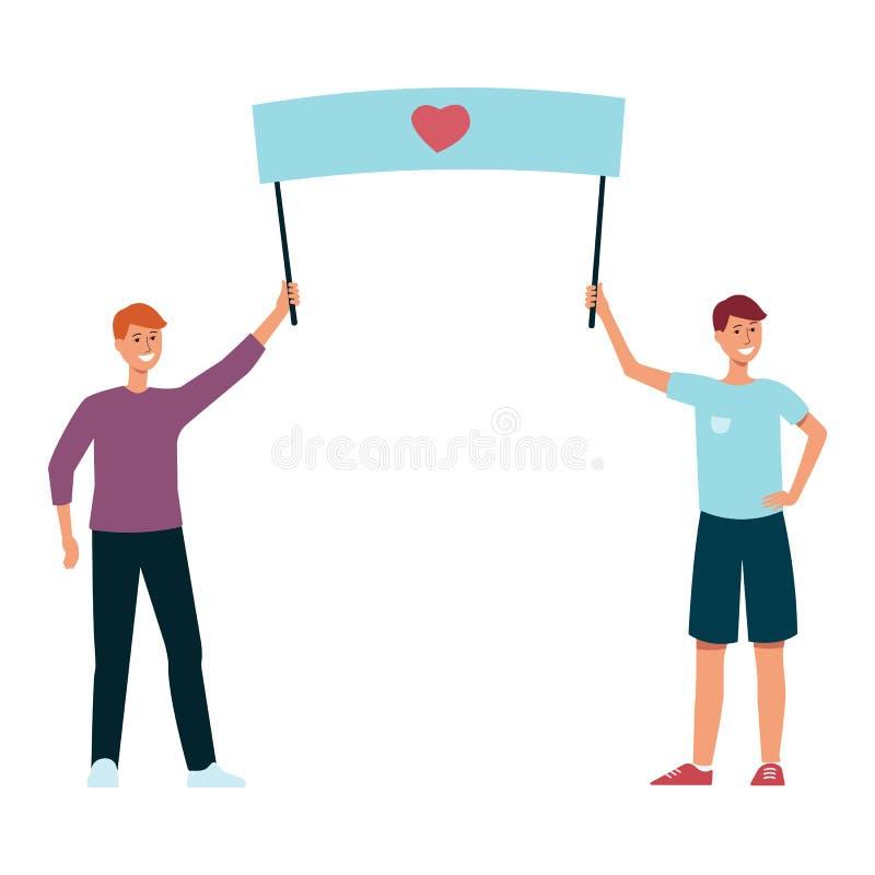Ejemplo del vector de dos individuos que llevan a cabo el cartel con símbolo del corazón en estilo plano aislado en el fondo blan stock de ilustración