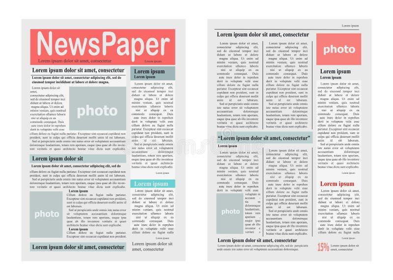 Ejemplo del vector de dos páginas del periódico en blanco ilustración del vector