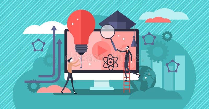 Ejemplo del vector de EdTech Concepto de aprendizaje educativo minúsculo plano de las personas stock de ilustración