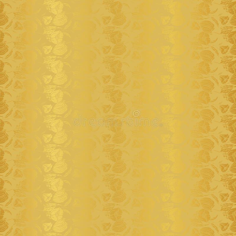 Ejemplo del vector de estilizado, extracto, jardín botánico de oro con los tulipanes, amapolas y lirios libre illustration