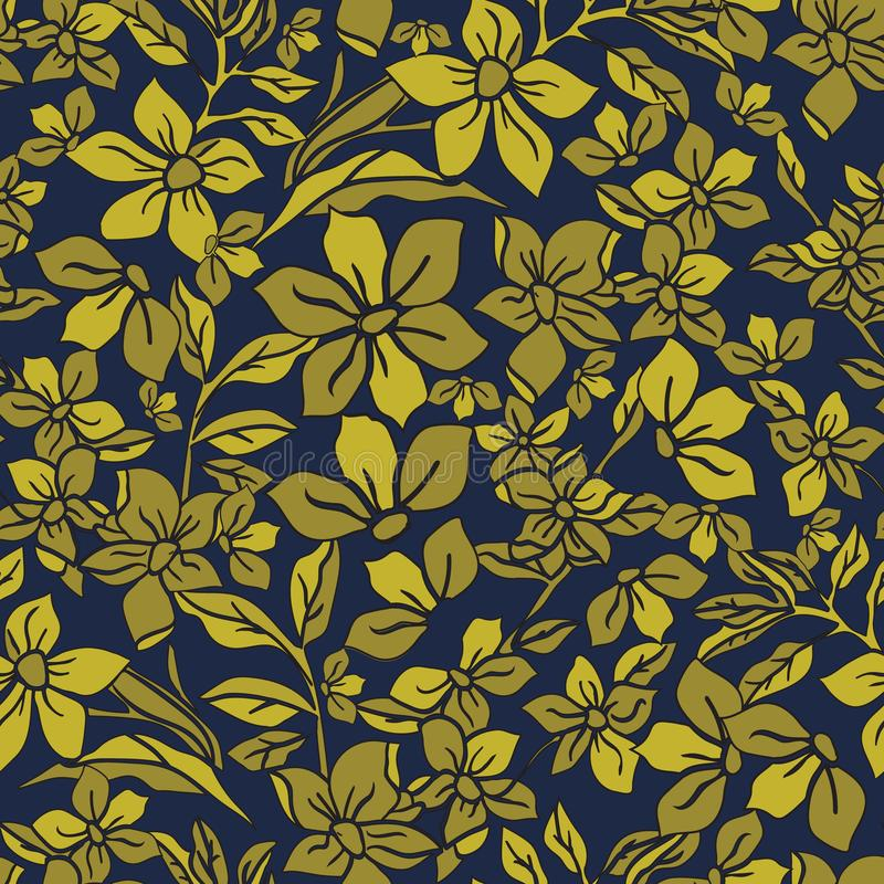 Ejemplo del vector de estilizado, extracto, jardín botánico de oro místico ilustración del vector