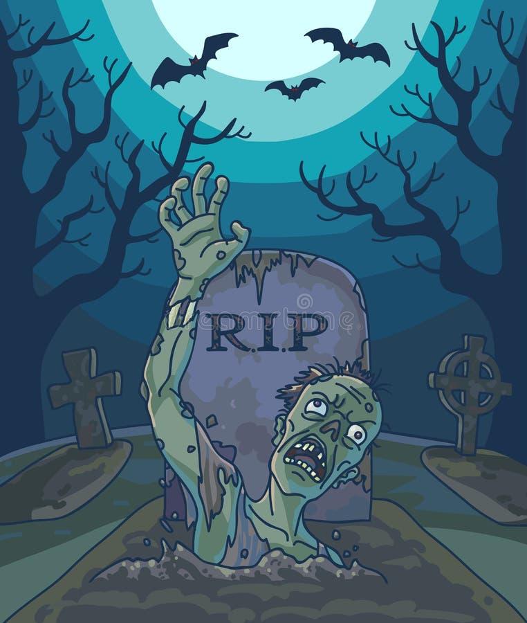 Ejemplo del vector de Halloween con el hombre muerto, la luna y el sepulcro del zombi fantasmagórico stock de ilustración