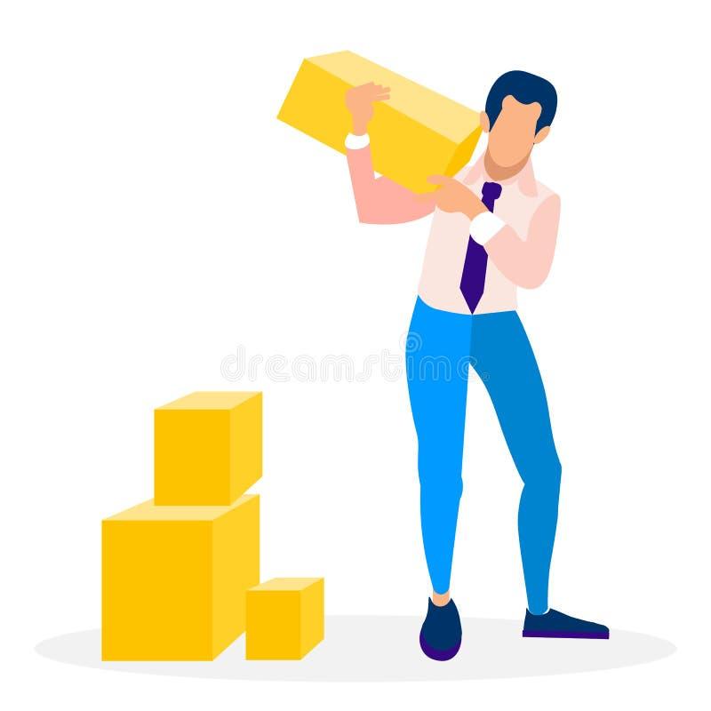 Ejemplo del vector de Holding Block Flat del hombre de negocios libre illustration