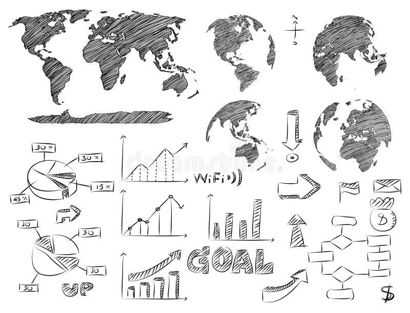 Ejemplo del vector de Infographic del detalle bosquejado Gráficos de la correspondencia y de la información de mundo ilustración del vector