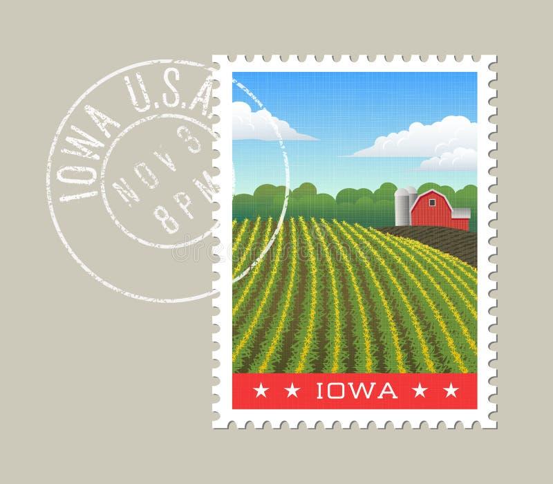 Ejemplo del vector de Iowa del campo de maíz y del granero rojo stock de ilustración