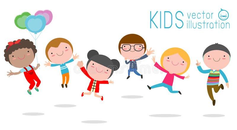 Ejemplo del vector de jugar de los niños, del niño lindo saltando y bailando aislado en el ejemplo blanco del vector del fondo stock de ilustración