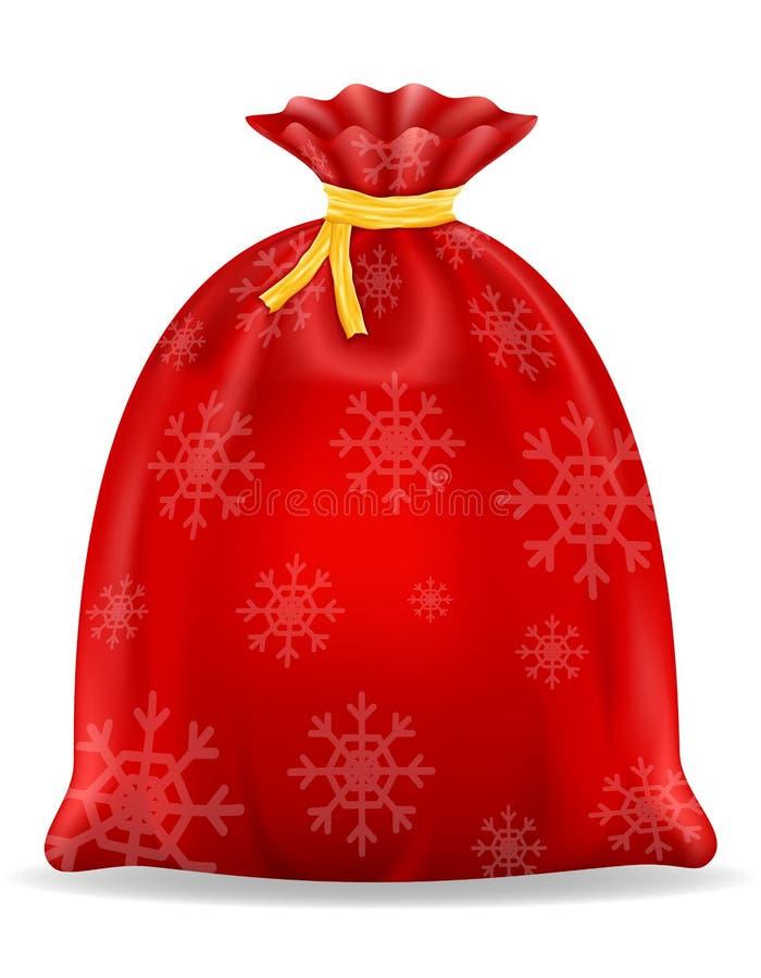 Ejemplo del vector de la acción del bolso de Papá Noel de la Navidad ilustración del vector