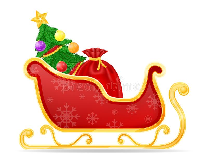 Ejemplo del vector de la acción del trineo de Papá Noel de la Navidad stock de ilustración