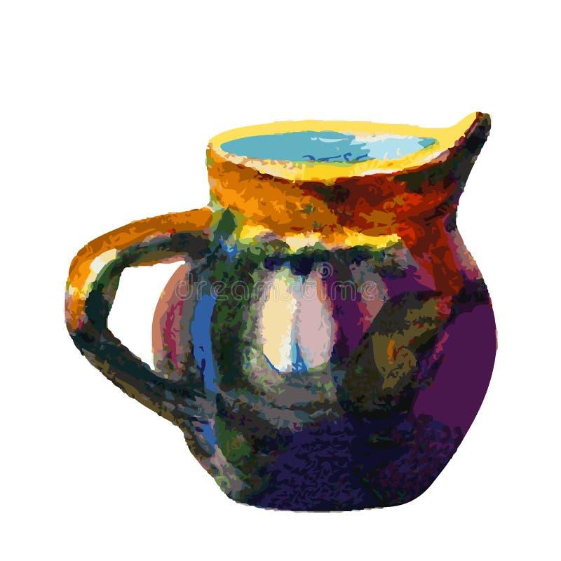Ejemplo del vector de la acuarela de la jarra aislado en el fondo blanco libre illustration