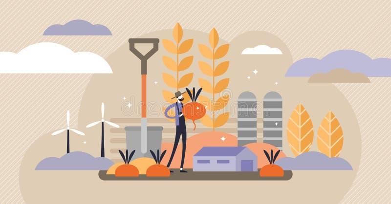 Ejemplo del vector de la agricultura Mini concepto de las personas con las cosechas de la cosecha libre illustration