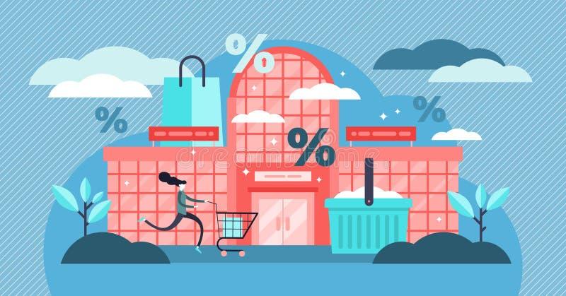 Ejemplo del vector de la alameda de compras Concepto minúsculo plano de la compra del descuento de las personas ilustración del vector