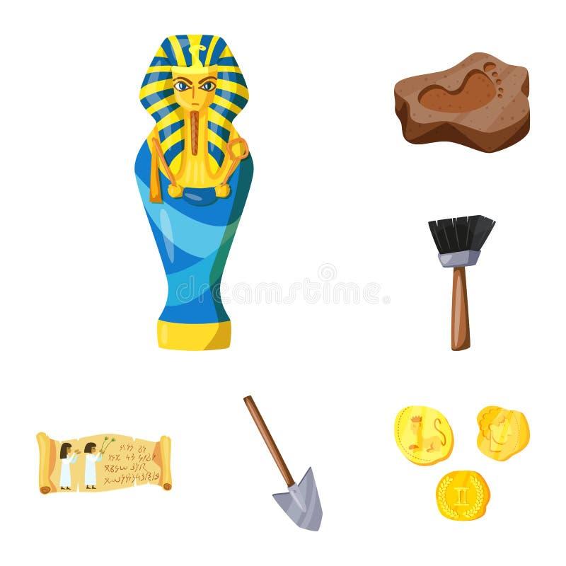 Ejemplo del vector de la arqueología y del logotipo histórico Colección de símbolo común de la arqueología y de la excavación par libre illustration
