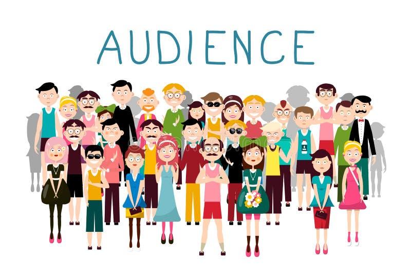 Ejemplo del vector de la audiencia Groop de los avatares de la gente en el fondo blanco Hombres y mujeres en muchedumbre ilustración del vector