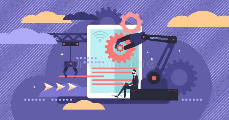 Ejemplo del vector de la automatización de los recursos humanos Concepto minúsculo plano del trabajo de la persona libre illustration