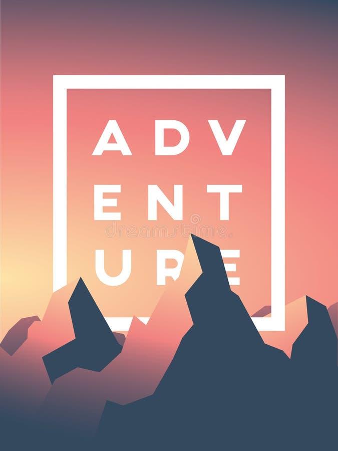Ejemplo del vector de la aventura de la montaña con los altos picos en puesta del sol o salida del sol Concepto del paisaje de la ilustración del vector