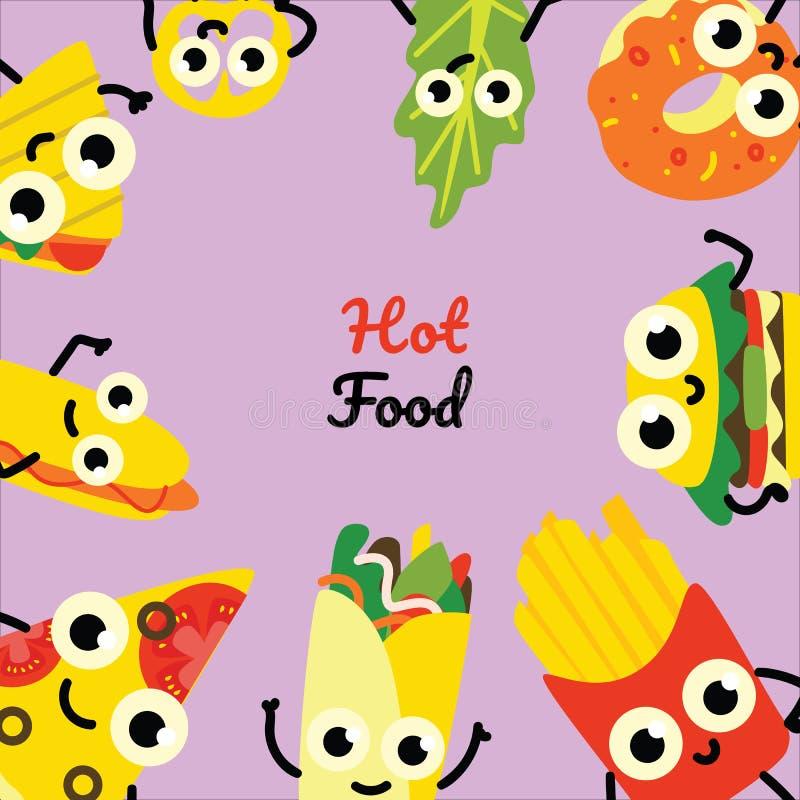 Ejemplo del vector de la bandera del cuadrado de los alimentos de preparación rápida con el marco de comidas y de personajes de d ilustración del vector