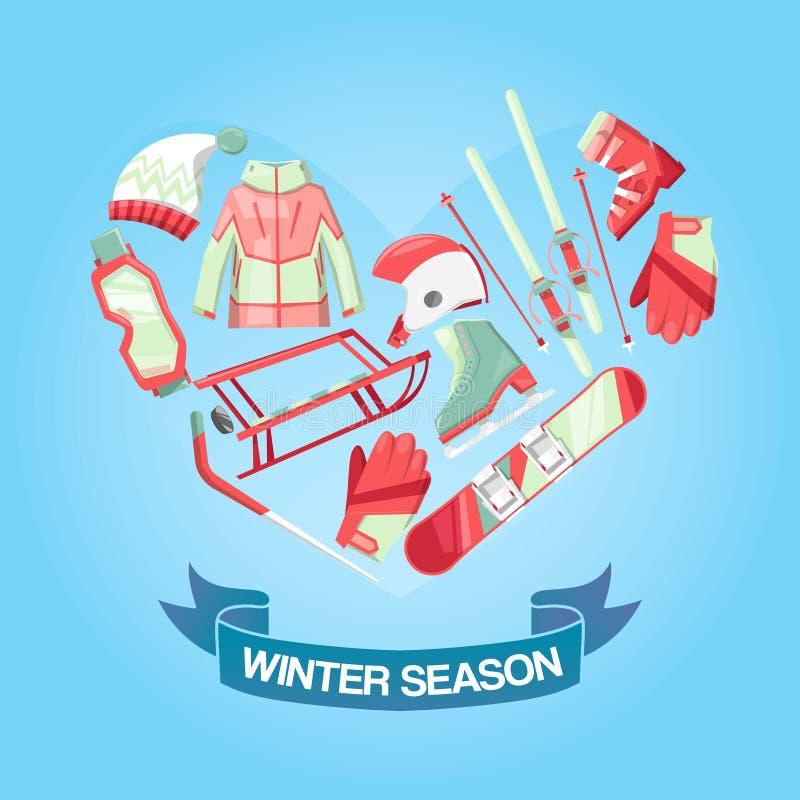 Ejemplo del vector de la bandera de la estación del invierno Equipo para el deporte de invierno tal como trineo, snowboard, patin ilustración del vector