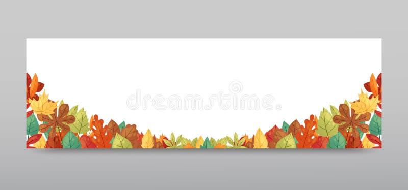 Ejemplo del vector de la bandera del fondo de las hojas de otoño Hojas que caen verdes, rojas, anaranjadas, marrones y amarillas  ilustración del vector