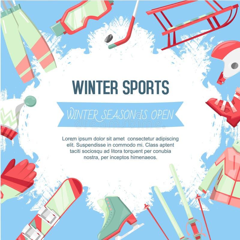 Ejemplo del vector de la bandera de los deportes de invierno Equipo para la estación del invierno tal como trineo, snowboard, pat stock de ilustración