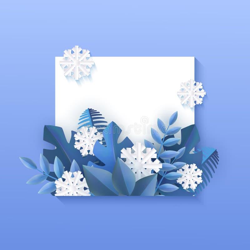 Ejemplo del vector de la bandera natural del invierno con forma cuadrada y copos de nieve azules del hoja y blancos stock de ilustración
