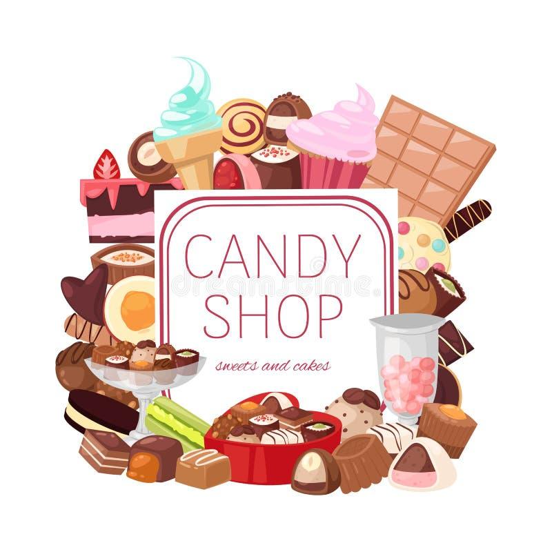 Ejemplo del vector de la bandera de la tienda del caramelo Panadería y dulces con los pedazos de torta de la fruta con el galaze  libre illustration