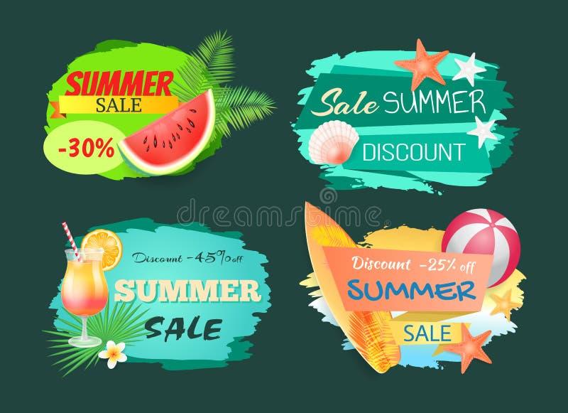 Ejemplo del vector de la bandera de la venta del descuento del verano ilustración del vector