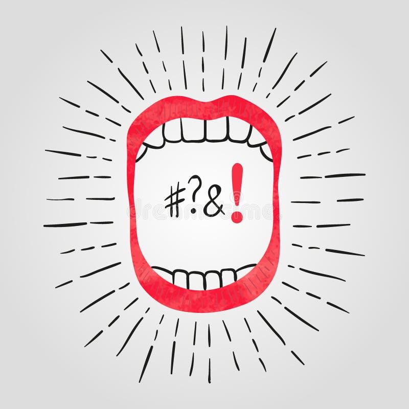 Ejemplo del vector de la boca abierta con los dientes stock de ilustración