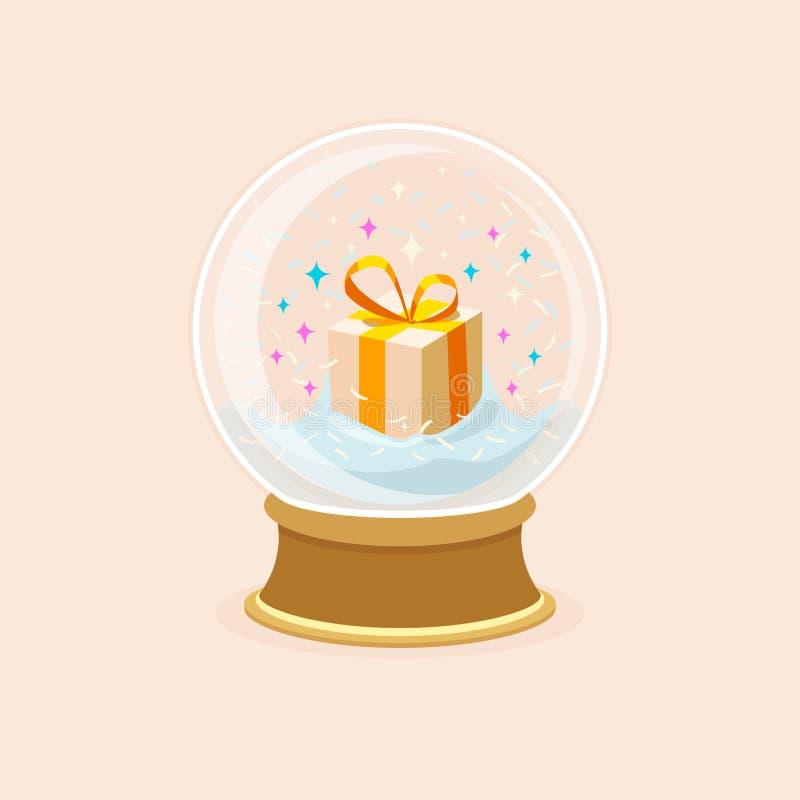 Ejemplo del vector de la bola de cristal con caída de la nieve, las estrellas y la caja de regalo dentro Cartel del día de fiesta ilustración del vector
