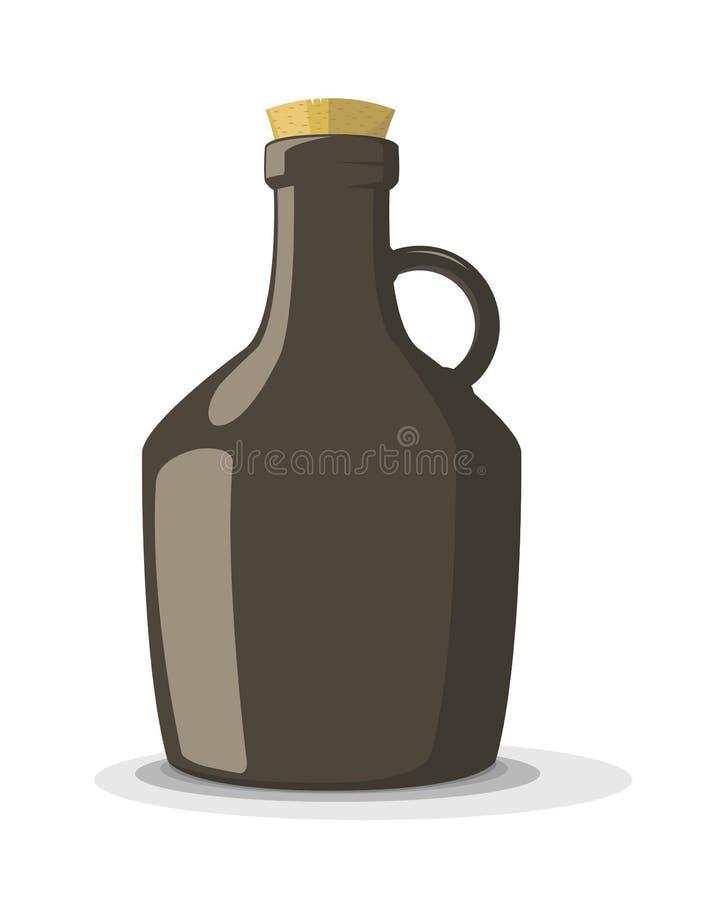 Ejemplo del vector de la botella oscura con el corcho libre illustration