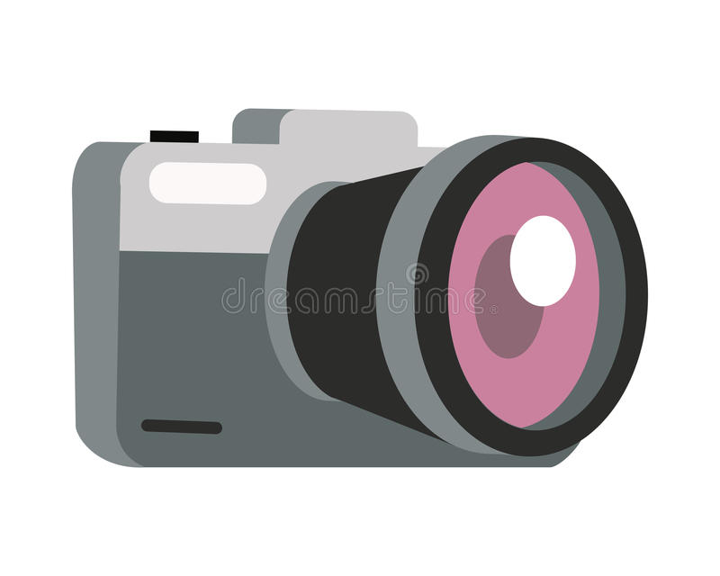 Ejemplo del vector de la cámara de la foto en diseño plano libre illustration