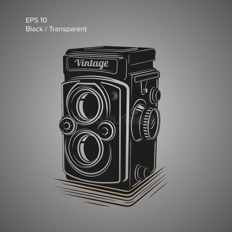 Ejemplo del vector de la cámara del vintage Icono antiguo del equipo de la foto stock de ilustración
