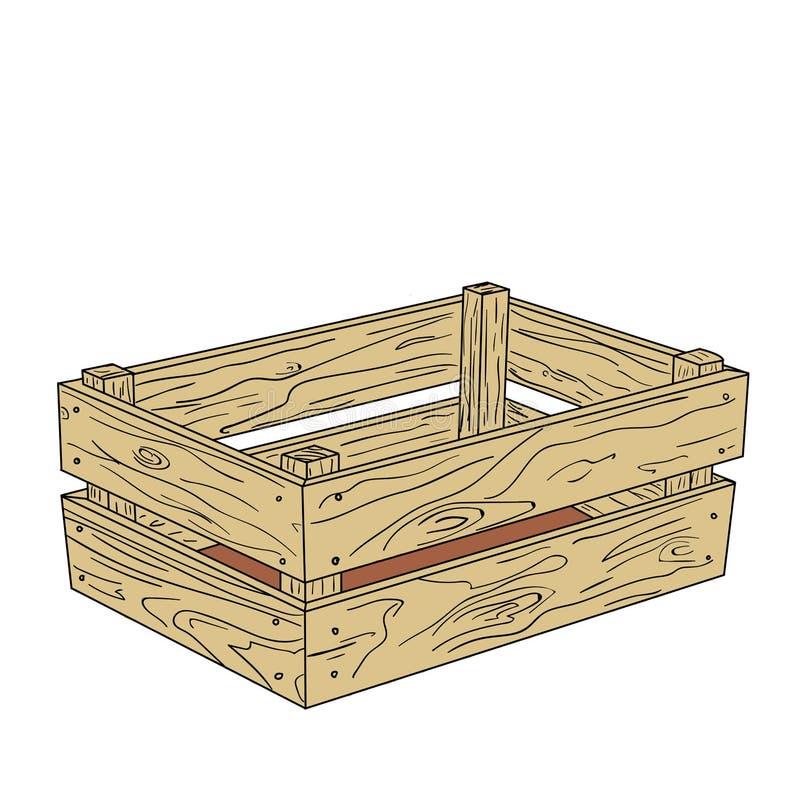 Ejemplo del vector de la caja de madera para el diseño y la decoración ilustración del vector