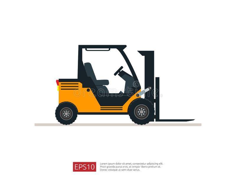 Ejemplo del vector de la carretilla elevadora plantilla del icono del cargador de la bifurcación del almacén símbolo del camión d stock de ilustración