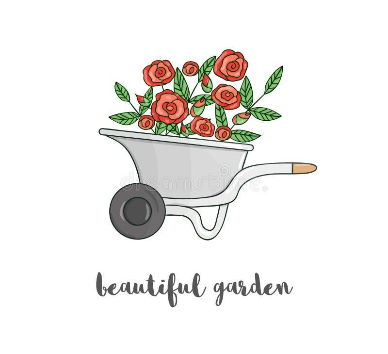 Ejemplo del vector de la carretilla de rueda colorida del jardín con las flores Primavera del estilo de la historieta o imagen de stock de ilustración